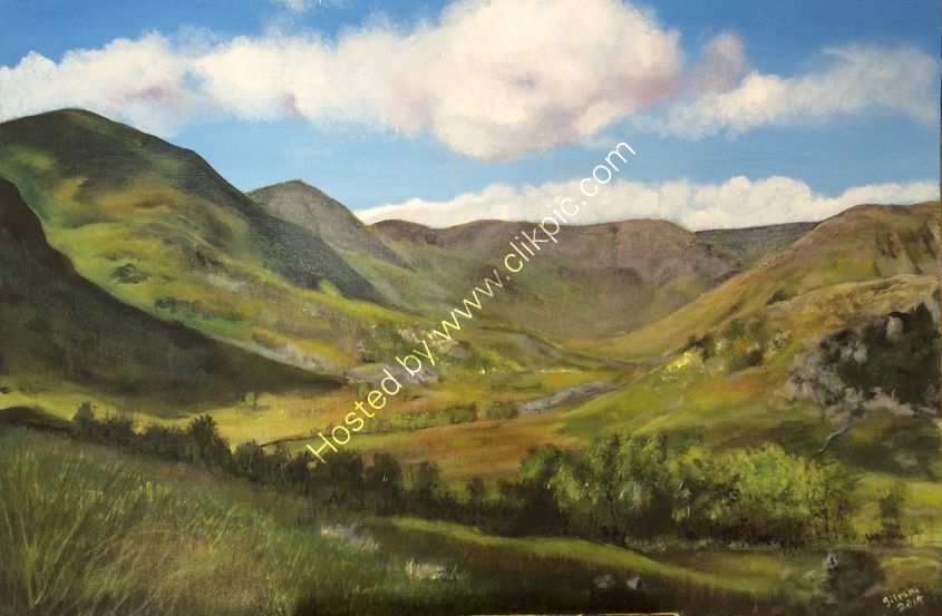 Acrylic painting Landscape Commission for a special birthday of Kentmere valley