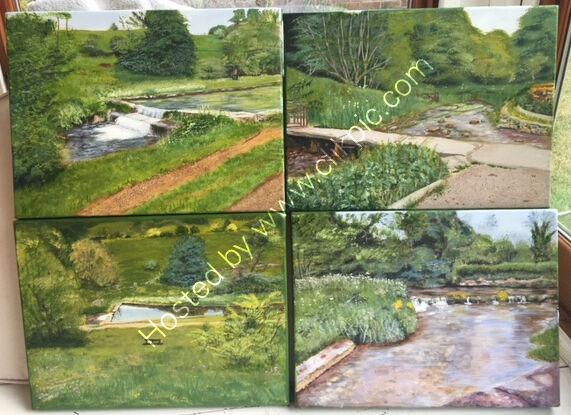 Four landscapes Commission acrylic