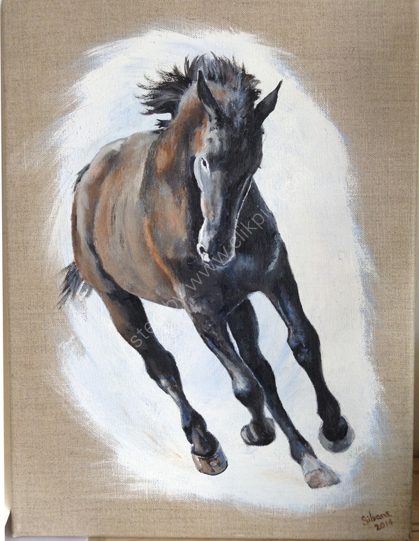 Galloping Horse Acrylic on linen