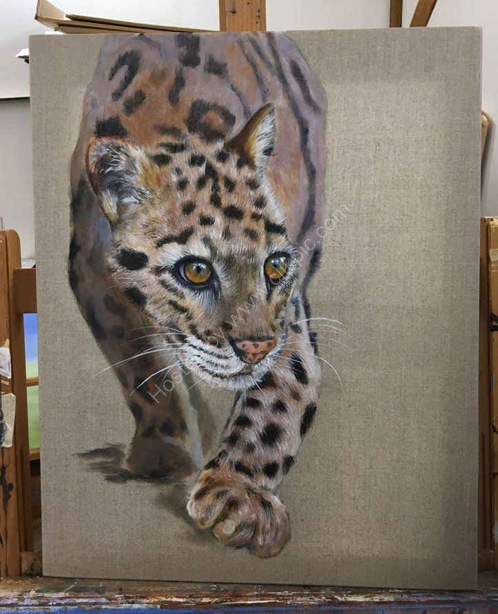 Clouded leopard Acrylic on linen