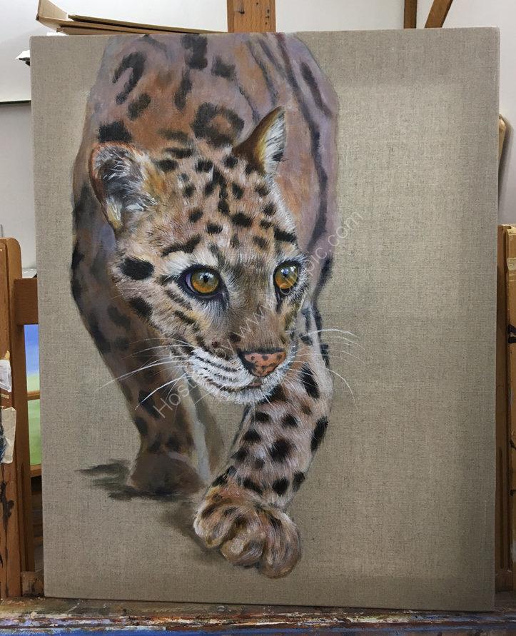 Clouded leopard Acrylic on linen