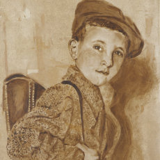 """Peter Aged 10""; 36 x 61 cm; Oil on found hardboard"