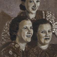 """The Three Matriarchs""; 32 x 61 cm;  Oil on found hardboard"