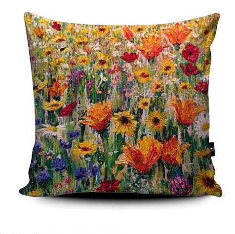 Cornflower Symphony wildflower super soft cushion