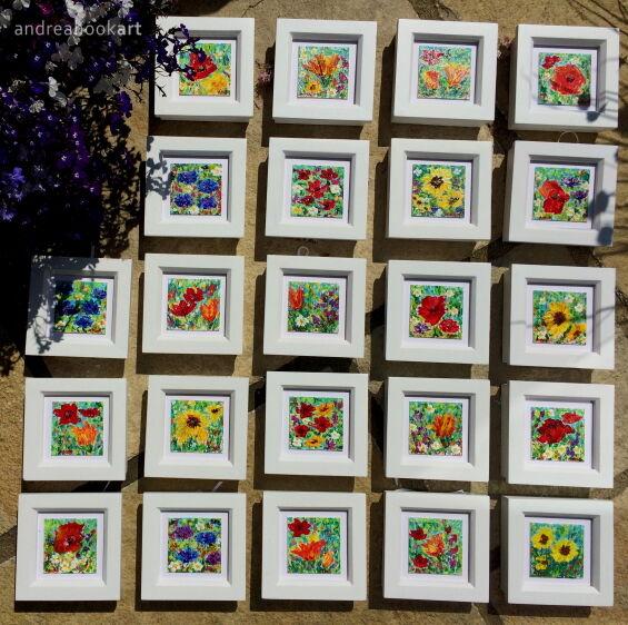 23 miniature wildflower paintings - framed in white wood.