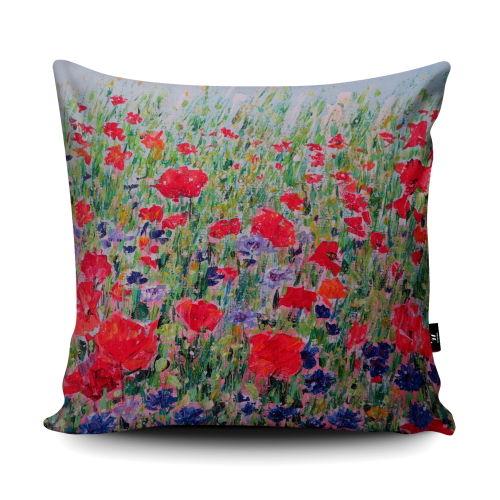 Poppies and Cornflowers wildflower super soft cushion
