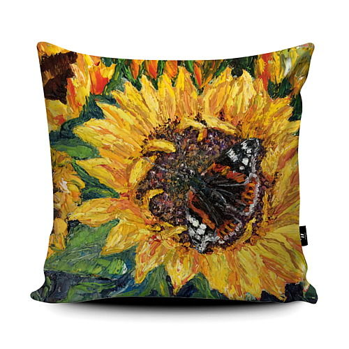 Sunflower Butterfly Super soft Cushion Red Admiral