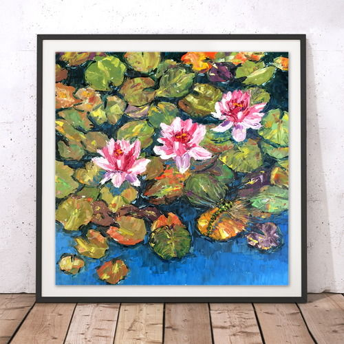 Waterlily Dragonfly Square Prints