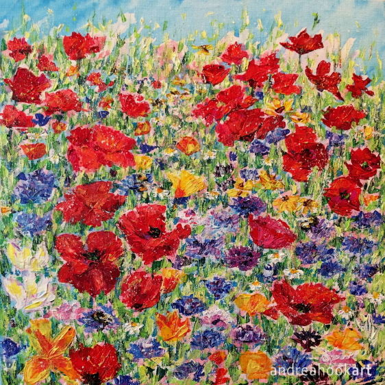 A painting of wildflowers with three bumble bees amongst the flowers