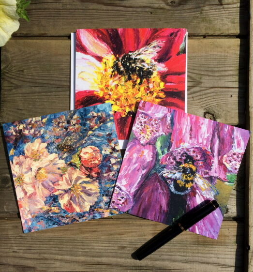 bumble bee honey bee blossom waterlily foxglove wildflower cards