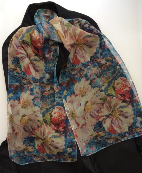 Blossom Paris Chiffon scarf by Andrea Hook from an original painting