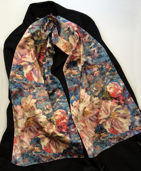 Blossom silk sensation scarf by Andrea Hook from an original painting