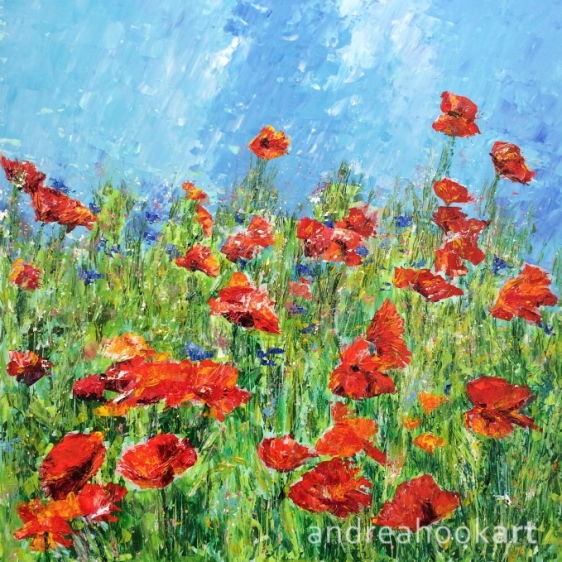 Poppies and wildflowers by Dorset Artist Andrea Hook