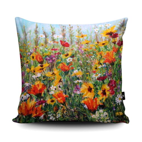 Jewel Border wildflower super soft cushion