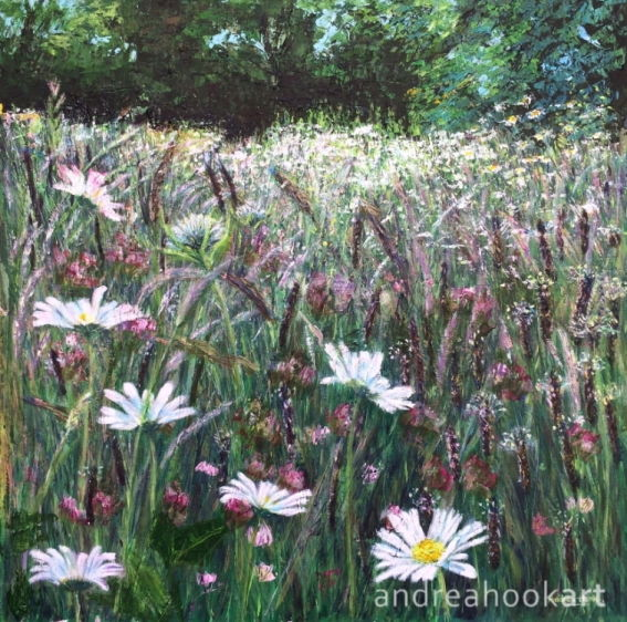 An original painting of daisies and wildflowers by Dorset Artist Andrea Hook