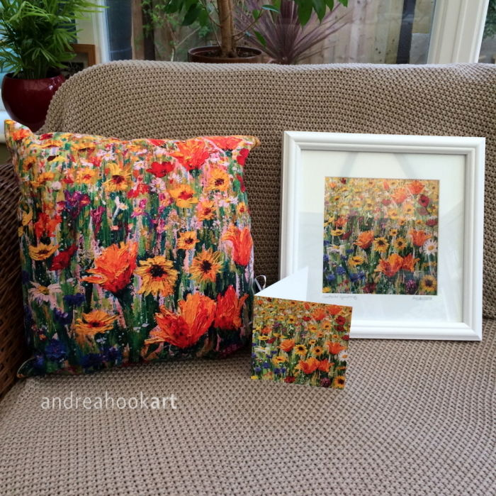 Cornflower Symphony Wildflower super soft cushion with matching framed print and card by Dorset Artist Andrea Hook