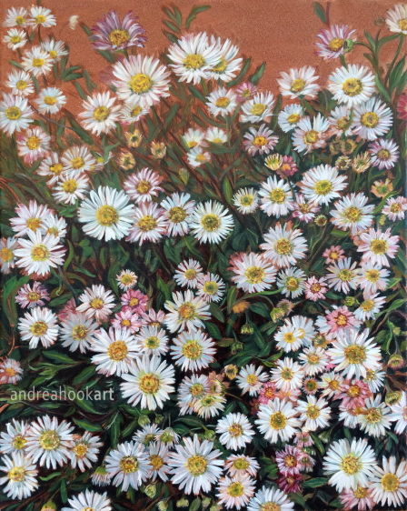 An oil painting on canvas of daisies