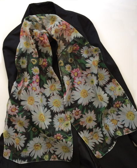 Daisy Paris Chiffon scarf by Andrea Hook from an original painting