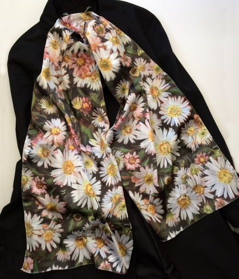 Daisy silk sensation scarf by Andrea Hook from an original painting