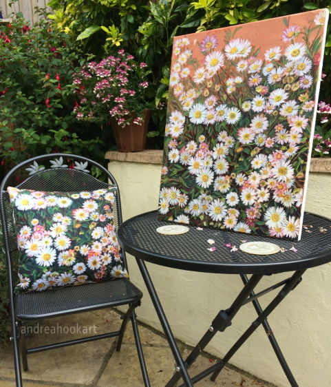 A daisy cushion with the original oil painting