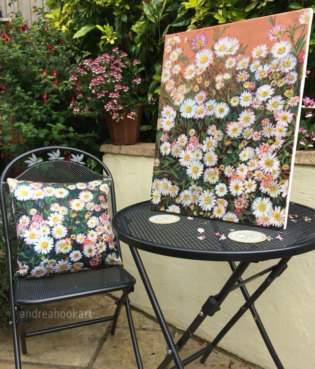 Daisy oil painting and cushion
