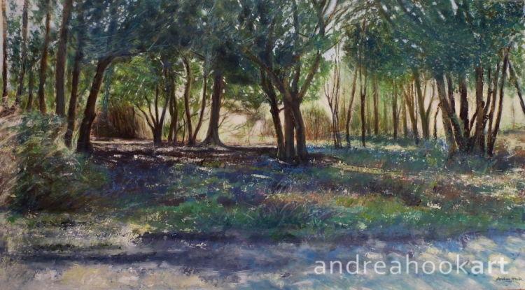 An original painting of a sunlit wood with dappled light by Dorset artist Andrea Hook