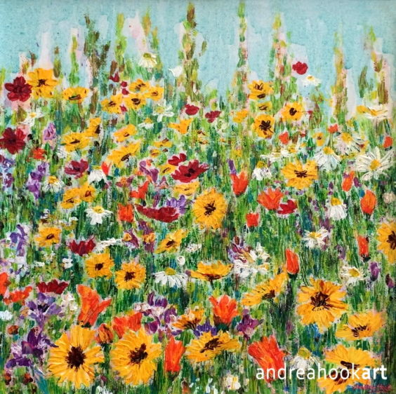 A border of Summer wildflowers painted in impasto acrylic paint