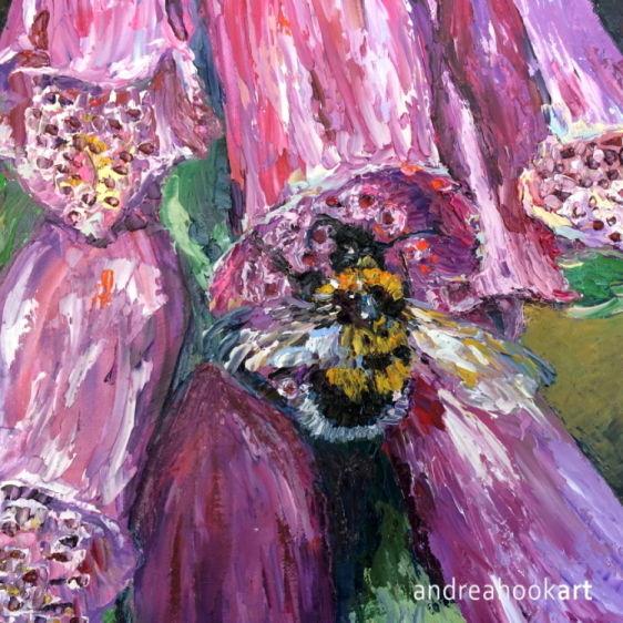 A Bumblebee on a pink foxglove