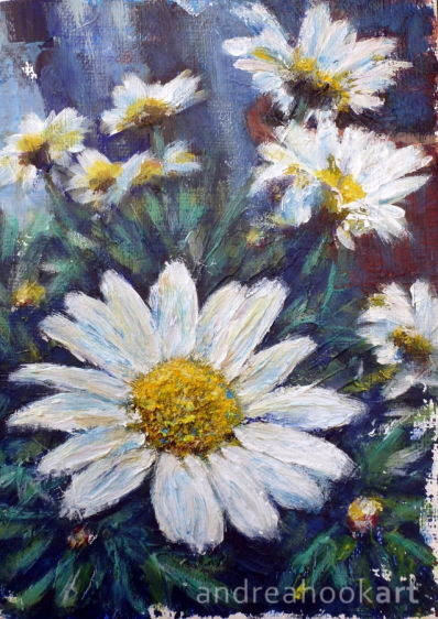 An original painting of garden daisies in a flower pot