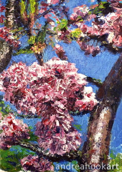 An original painting of blossom on a tree by artist Andrea Hook