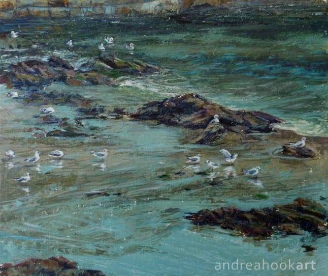 A painting of a harbour with seabirds by Andrea Hook