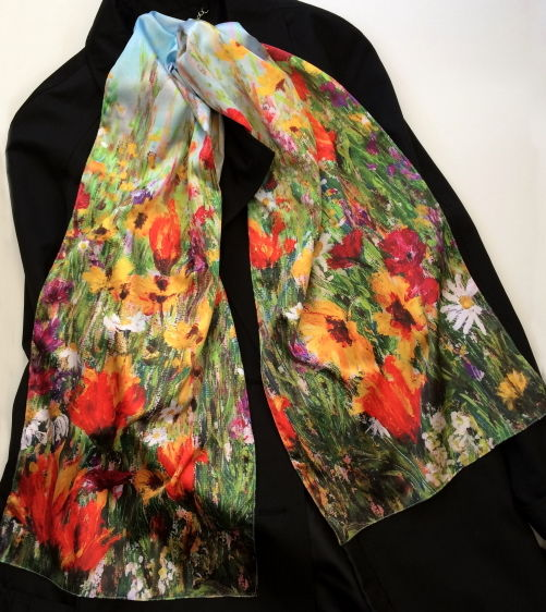 Jewel Border silk sensation scarf by Andrea Hook from an original painting