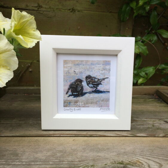 Mini 'Chatty Birds' framed print by Andrea Hook Dorset Artist