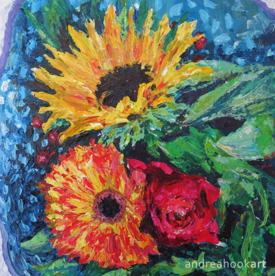 A bouquet of mixed flowers bought for Mother's Day and painted in acrylics