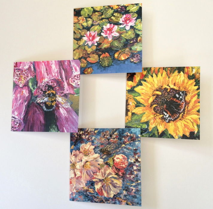 bumble bee honey bee dragonfly butterfly red admiral sunflower blossom waterlily foxglove wildflower cards