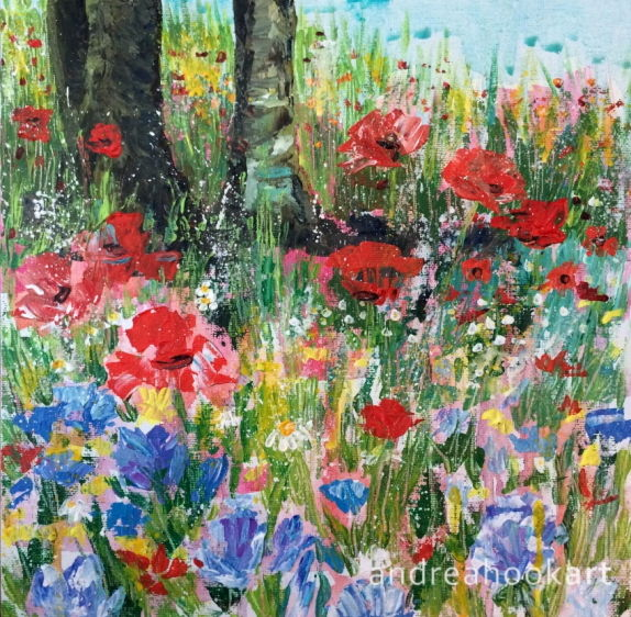 A painting of blue, red and white wildflowers under some trees by Dorset Artist Andrea Hook