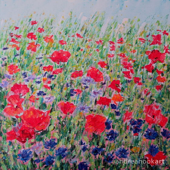 Poppies and Cornflowers original acrylic painting by Andrea Hook