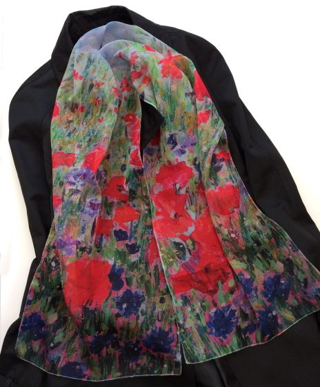 Poppies and Cornflowers Paris Chiffon scarf by Andrea Hook from an original painting