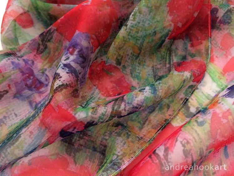 'Poppies & Cornflowers' Paris Chiffon Scarf - detail
