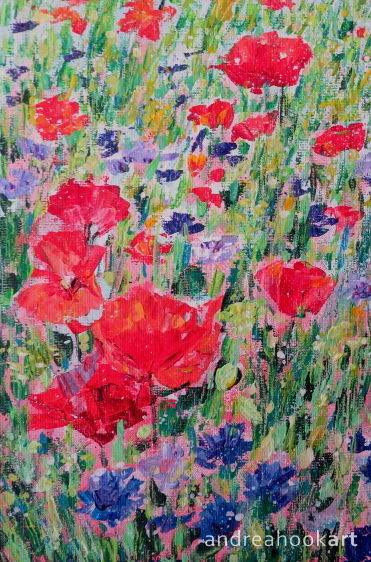 An original painting of poppies and cornflowers by Dorset Artist Andrea Hook