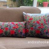 Poppies & Cornflowers as cushions. 45 cms square & 50 x 30 cms