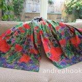 Poppies & Cornflowers long 100% cotton scarf
