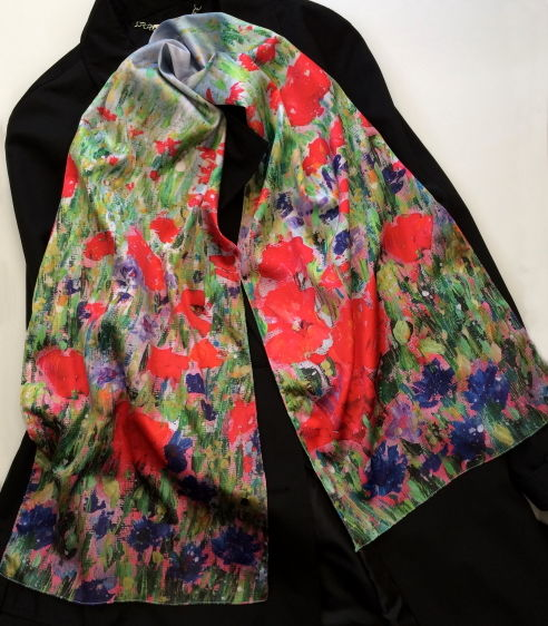 Poppies and Cornflowers silk sensation scarf by Andrea Hook from an original painting