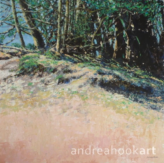An original impasto painting of a sandy bank in the New Forest by artist Andrea Hook