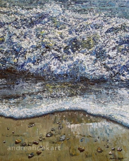 A painting of waves crashing onto a sandy beach by Dorset Artist Andrea Hook