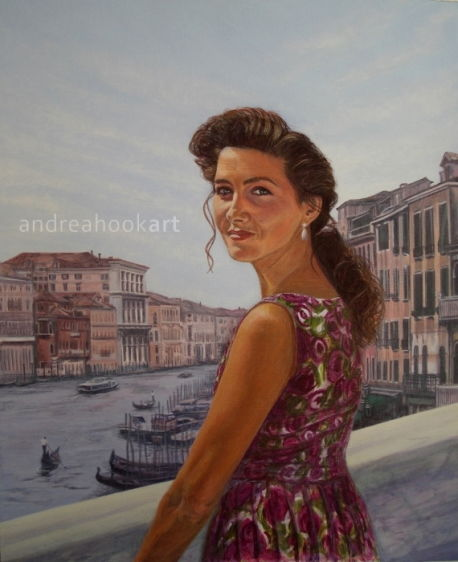 A portrait of a young woman wearing a vintage dress in Venice