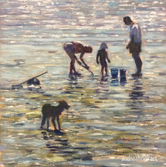 A detail of a painting of a family enjoying a day at the beach, with their dog