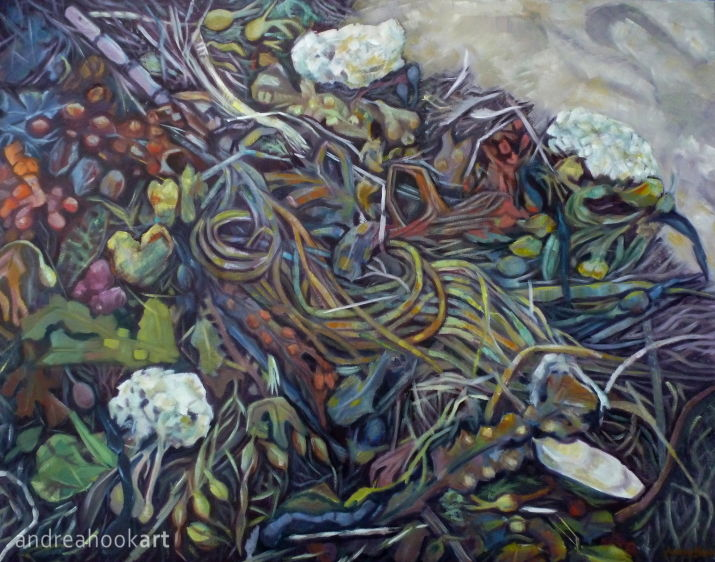 A painting of a tangle of seaweeds cuttlefish and whelks eggs on a beach by Andrea Hook