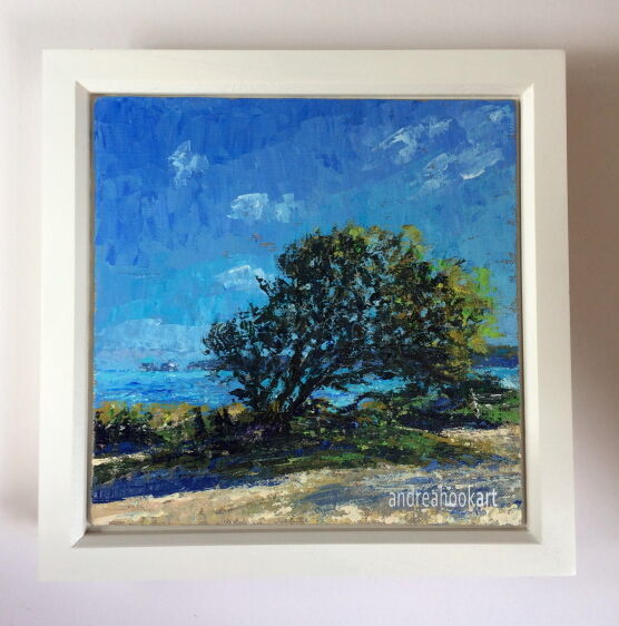 A coastal painting painted by Dorset artist Andrea Hook