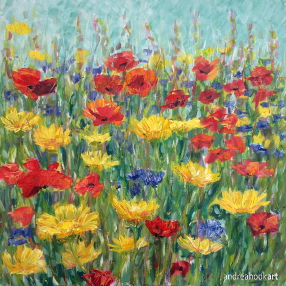 Summer Border of wildflowers painting. Painted with impasto oils.